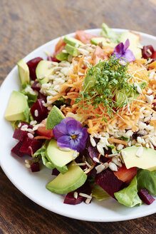 Mixed healthy salad on plate - HAWF000771