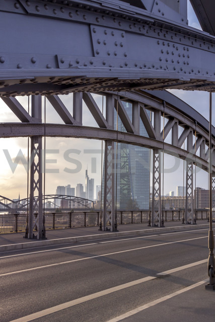 Germany, Hesse, Frankfurt, ECB Tower behind bridge construction - NKF000233
