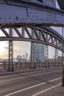 Germany, Hesse, Frankfurt, ECB Tower behind bridge construction - NKF000233