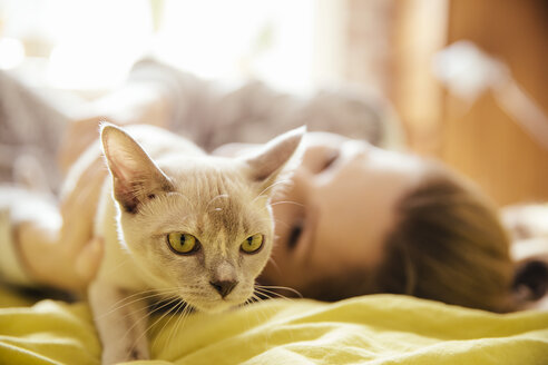 Woman with Burmese cat at home - MFF001564