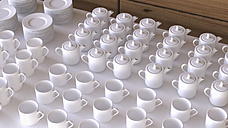 Rows of white coffee cups and coffee pots, 3D Rendering - UWF000444