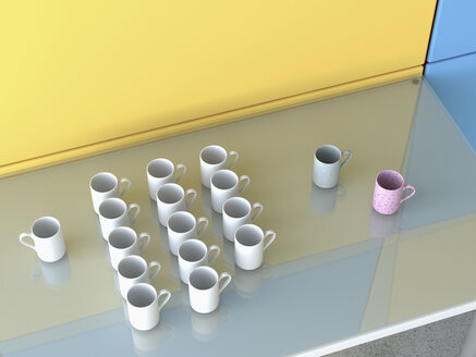 Different coffee cups on glass table, 3D Rendering - UWF000447