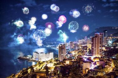 Monaco, fireworks above Monte Carlo at night - DAWF000374