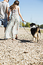 Young couple walking with dog outdoors in summer - UUF003928