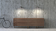 Old-fashioned sideboard in modern ambience, 3D Rendering - UWF000451