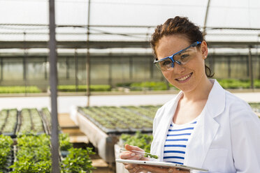 Young female gardener examining plants in nursery - UUF004003