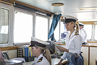 Two female deck officers on bridge - ZEF005486