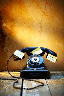 Black old bakelite telephone with adhesive notes - KSWF001452