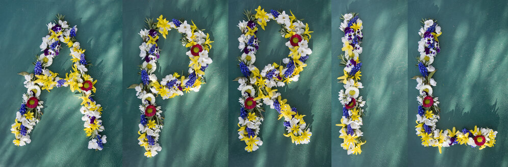 Word 'April' built of different flowers - GISF000113