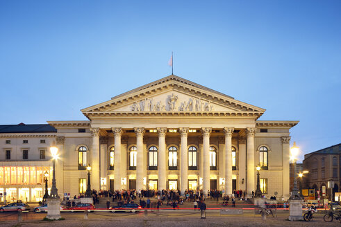 Germany, Bavaria, Munich, National Theatre at blue hour - BRF001219