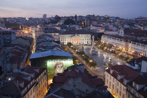Portugal, Lisbon, Rossio Square in the evening - ABOF000006