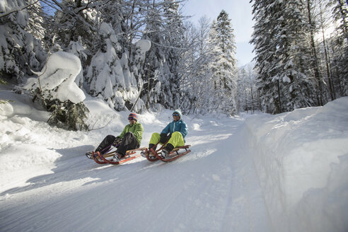 Germany, Bavaria, Inzell, couple having fun on  sledges in snow-covered landscape - FFF001438
