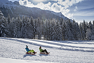 Germany, Bavaria, Inzell, couple on sledges in snow-covered landscape - FFF001441