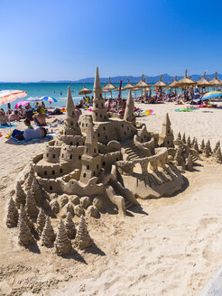 Spain, Baleares, Mallorca, El Arenal, Platja de Palma, sandcastle - AM003996