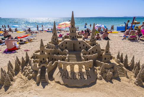 Spain, Baleares, Mallorca, El Arenal, Platja de Palma, sandcastle - AMF003998