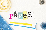 Writing 'Paper', wrapping paper and quilling elements - CMF000250