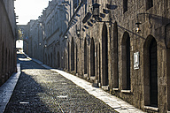 Greece, Rhodes, The cobblestoned Street of the Knights in the old town - RUNF000021