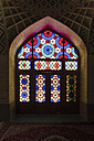 Iran, Shiraz, stained-glass window at the prayer hall of Nasir al-Mulk Mosque - FL000969
