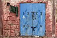 Morocco, Imsouane, old blue metal entrance door - HSKF000022
