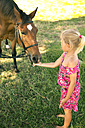 Girl feeding horse on meadow - TOYF000408