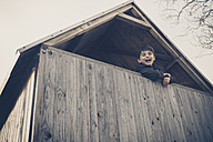 Boy playing in a tree house - MJF001519