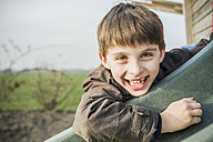 Portrait of happy little boy on a playground - MJF001523