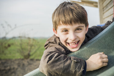 Portrait of happy little boy on a playground - MJF001523