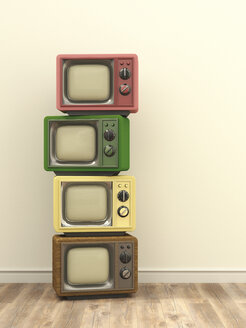 Illustration, stack of old tv - UWF000467