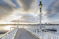 Germany, Hamburg, historic ferry pier  at the Aussenalster at sunrise - NKF000249