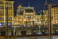 Germany, Hamburg, illuminated Schauspielhaus by night - NK000257