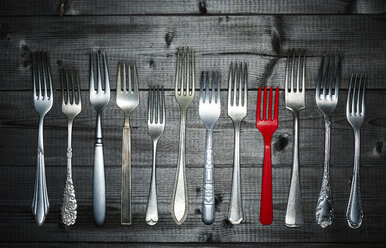 Row of different silver forks and a red plastic fork on wood - KSWF001522
