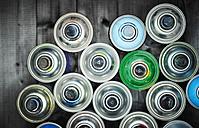 Aerosol cans on wood - KSWF001525