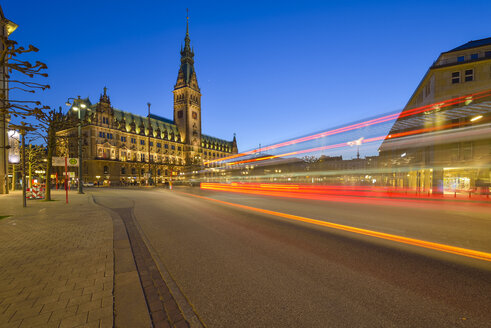 Germany, Hamburg, town hall and street at night - RJF000438