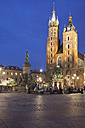 Poland, Krakow, Old Town, Main Market Square, St Mary Basilica by night - ABOF000022