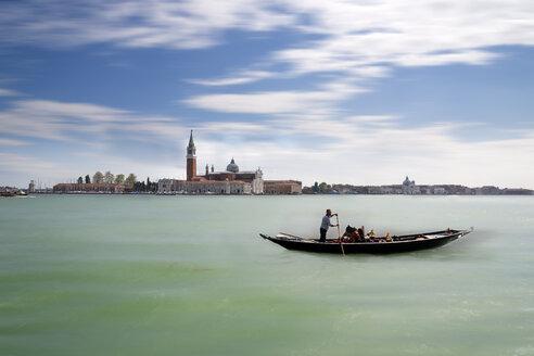 Italy, Venice, San Giorgio Maggiore with gondolier - MKF000215