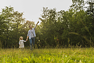 Father and daughter walkinh hand in hand on meadow - UUF004321