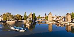 France, Alsace, Strasbourg, La Petite France, Pont Couverts and tourboat - WDF003115