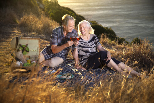 South Africa, happy senior couple with glasses of red wine having picnic - TOYF000721