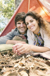 Happy couple camping in nature - TOYF000796