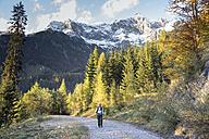 Austria, Salzburg State, Maria Alm, woman hiking in alpine landscape - NNF000347