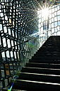 Iceland, Reykjavik, staircase and facade of Harpa concert hall - JED000235