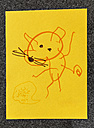 Child's drawing of a mouse with cheese on yellow paper - MFF001633