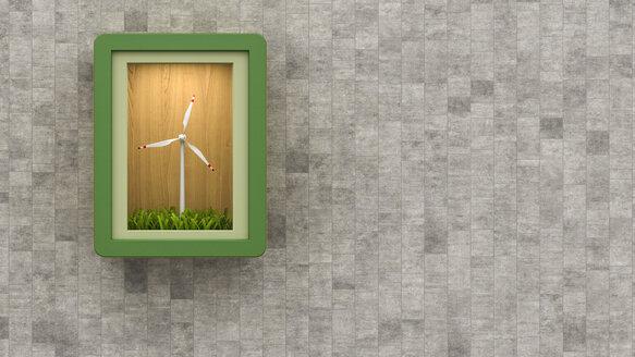 Wind turbine in a box, 3d rendering - UWF000484