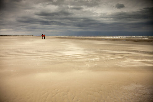 Germany, Lower Saxony, Eastern Friesland, Spiekeroog, couple having a walk at the low tide - PCF000164