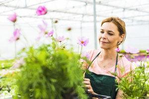 Woman in nursery looking at flower - UUF004355