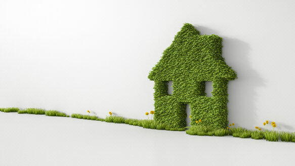 3D Rendering, House from grass on wall, copy space - UWF000491