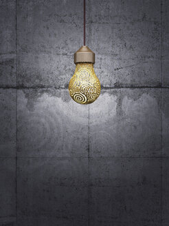 Lightbulb in front of concrete wall, 3d rendering - AHUF000004