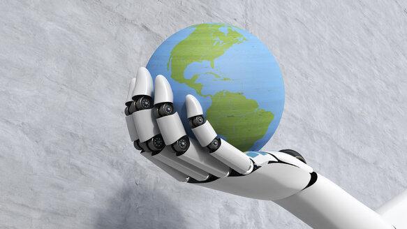 Robot holding globe, 3d rendering - AHUF000006