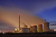 Germany, North Rhine-Westphalia, Grevenbroich-Neurath, Neurath Power Station at dusk - RUEF001622