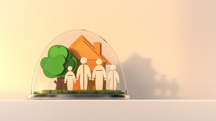 House and family under glass dome, 3d rendering - UWF000495